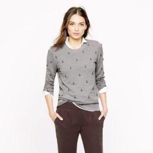 j crew factory jeweled rhinestone sweatshirt gray